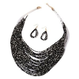 Jewelry - Black & White Seed Bead Necklace & Earrings Set.